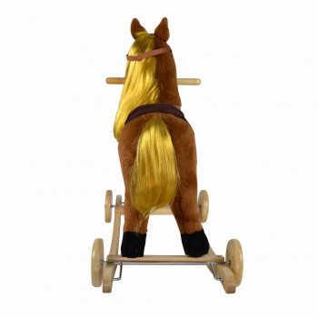 PITUSO Качалка-Лошадка с колесами мягконаб.,длин.грива, муз.,Коричневый,74*30*64см GS3042W