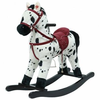 PITUSO Качалка-Лошадка мягконаб.,муз., Белый с черными пятнами, 74*30*64см GS2035