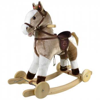 PITUSO Качалка-Лошадка с колесами, мягконаб.,муз., Серый с белым, 74*30*64 см. GS2057W