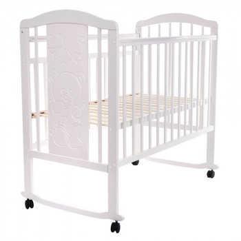 PITUSO Кровать детская NOLI МИШУТКА  колесо-качалка с наклад. опуск.планка Белый J-502/Белый/Мишутка