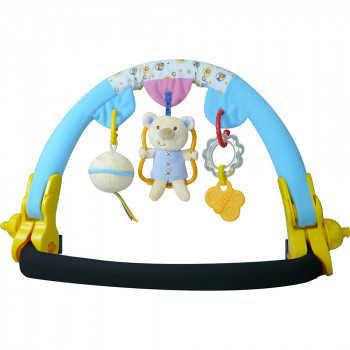 BIBA TOYS Дуга на коляску МАЛЫШКИ МИШКИ  голубой/розовый 77.5*46*35 см (в кор.12 шт.) QB395