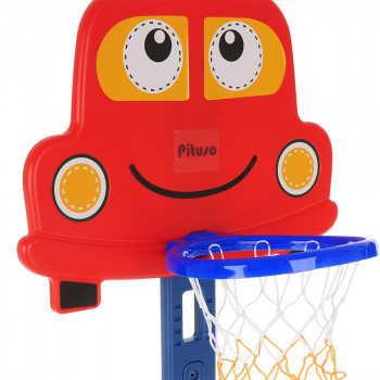 PITUSO Стойка баскетбольная МАШИНКА (с кольцебросом, футб.воротами) RED/красный (71*178h) L-KC01
