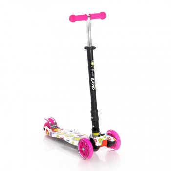 Самокат 3-х колёсный, складной Lorelli RAPID Розовый / Pink FLOWERS 0001