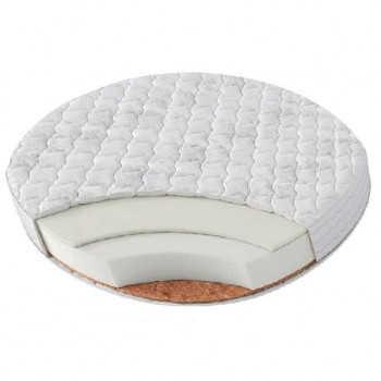 BAMBOLA Матрас в круглую кроватку ROUND HOLO + KOKOS 8 75х75х8, Микрофибра