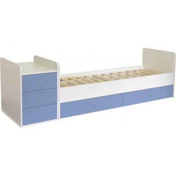 Кроватка-трансформер детская Фея 1100 белый-синий